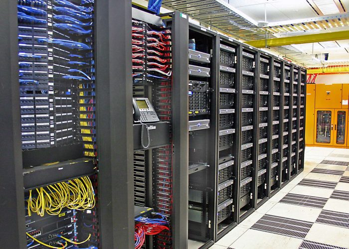 landscape view of very large data centre data storage array ** Note: Slight graininess, best at smaller sizes